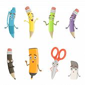 Cartoon Characters Of Different Drawing Tools. Pencils, Pen And Others. School Instrument Pen With F poster