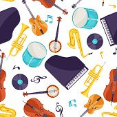 Jazz Music Seamless Pattern With Musical Instruments. poster