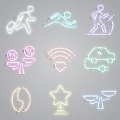 Icon Set Of Neon Lamps With Public Places Signs. Advertisement, Urban Services, Nightlife. Urban Lif poster