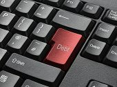 Red Key On Computer Keyboard Entitled Debt poster