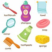 Cartoon Bathroom Accessories Vocabulary Vector Icons. Mirror, Towel, Sponge, Toothbrush And Soap. To poster