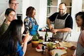 Diverse people joining cooking class poster