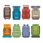 Tourist Backpack Set Isolated Illustration In Flat Design. Classic Styled Hiking Backpack With Sleep poster