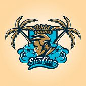 Logo On Surfing. The Emblem Of The Mans Face Surfer. Beach, Waves, Palm Trees, Tropical Island. Ext poster