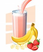Strawberry Banana Juice. Fresh Fruit And Berry Juice In Glass. Juice Flow And Splash In Full Glass.  poster