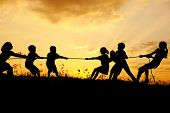 picture of children playing  - Silhouette - JPG