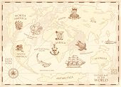 Vintage World Map With Compass And Mountains. Sea Creatures In The Ocean. Aged Treasure. Marine Capt poster