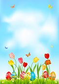 Bright Easter Eggs On A Grass. Easter Holiday Background For Design Card, Banner, Ticket, Leaflet, P poster