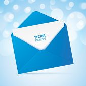 Blue Vector Envelope On A Bokeh Background. Realistic Blue Opened Envelope Standing On A Surface. poster