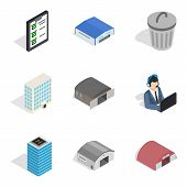 Industrial Part Of Town Icons Set. Isometric Set Of 9 Industrial Part Of Town Vector Icons For Web I poster