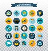 Flat Circular Construction Icons. Web Icons Set - Building, Construction And Home Repair Tools. Flat poster
