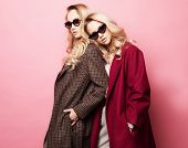 Fashionable two blond women in coat with sunglasses. Fashion autumn winter photo. poster