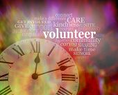Please Volunteer Some Time Now  - Vibrant Red Modern Art Effect Background With A Clock Face Bottom  poster