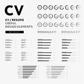 Cv Resume Design Elements - Skills Icons Set - Minimal Iconography Vector - Black And White Infograp poster