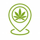 Marijuana Store Location Icon. Map Pointer. Cannabis, Marijuana Leaf. Weed Pinpoint. Vector Isolated poster