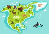 North American Map With Wildlife Animals Illustration. Cartoon Flora And Fauna, Monkey, Alligator, B poster