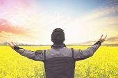 Silhouette Freedom Man Rise Hands Up Inspire Good Morning. Christian Worship Praise God In Thanksgiv poster