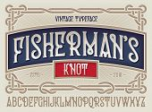 Old Style Typeface fishermans Knot With Beautiful Decorative Vintage Frame Ornate. poster