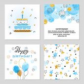 Happy Birthday Cards Set In Blue And Golden Colors. Celebration Vector Illustrations With Birthday C poster