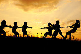 stock photo of children playing  - Silhouette - JPG