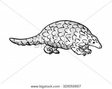 poster of Ground Pangolin Or Smutsia Temminckii Endangered Wildlife Cartoon Mono Line Drawing