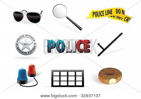 Vector police, order and law icon set Picture - Royalty Free Stock