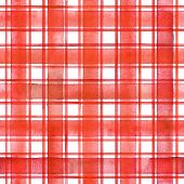 Watercolor Stripe Plaid Seamless Pattern. Red Stripes On White Background. Watercolour Hand Drawn St poster