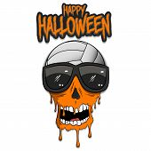 Happy Halloween. Volleyball Ball With Skull In Sunglasses With Paint. Graffiti Illustration Of Volle poster