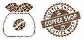 Mosaic Coffee Grain And Grunge Stamp Seal With Coffee Shop Text. Mosaic Vector Coffee Grain Is Compo poster