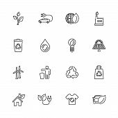 Ecological, Recycling Outline Icons Set - Black Symbol On White Background. Ecological, Recycling Si poster