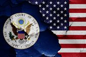 Flags Of Supreme Court Of The United States And Usa Painted On Cracked Wall poster