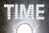 Time Tunnel. Time Passing. Time Travel Concept. Word Time Out Of Many Clock. poster
