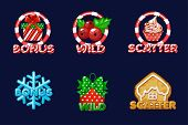 Christmas Icons For Slots. Bonus, Scatter And Wild Text. Vector Set New Years Icons On A Separate La poster