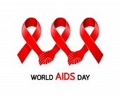 Holding Hands In Red Ribbon. Aids Awareness Red Ribbon. World Aids Day Concept. Icon Design, Illustr poster