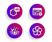 Augmented Reality, Anti-dandruff Flakes And Web Settings Icons Simple Set. Halftone Dots Button. Nat poster