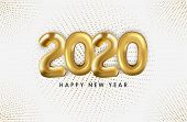 2020 Text Balloons With Ribbons Scattered On A White Background. New Year 2020. Creative Concept Des poster