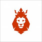 Vector Illustration. Lion Head Logo With Crown. Lion King Head Sign Concept poster