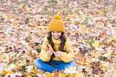 Warm Woolen Accessory. Girl Long Hair Happy Face Nature Background. Keep You Warmest This Autumn. No poster