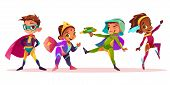 Happy Multiethnic Children Characters Playing And Having Fun In Superheroes Or Fairytale Costumes Ca poster