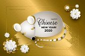 Happy Chinese New Year 2020 Year Of The Rat. White Mouse With Golden Brush Stroke, Gold Glittering A poster