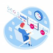 Isometric Business Data Analytics Process Management Or Intelligence Dashboard On Virtual Screen Sho poster