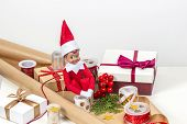 Christmas Present Wrapping Background. Gifts Present Boxes, Wrapping Papers, Ribbons, Bows And Toy E poster