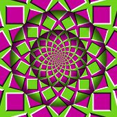 Abstract Round Frame With A Moving Pink Green Squares Pattern. Optical Illusion Hypnotic Background. poster
