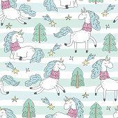 Cute Hand Drawn Christmas Character Unicorn. Christmas Print With Unicorn. Vector Illustration. Prin poster