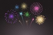 Bright Colorful Fireworks Explosions Isolated On Transparent Background. New Years Eve Fireworks. Fe poster