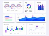 Dashboard Graphs. Statistical Data Charts, Financial Process Bar And Infographic Diagrams Vector Set poster