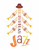 Jazz Christmas Holidays Music Fest Hand Drawn Flat Vector Icon. Trumpet Christmas Tree Jazz Fancy Le poster