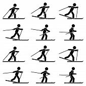 Stick Figure Man Skiing Sequence Poses Icon Vector Pictogram Set. Winter Sport Stickman On Ski Postu poster