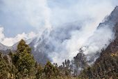 Fire In Mountain Forest. Aerial View Forest Fire And Smoke On Slopes Hills. Wild Fire In Mountains I poster