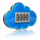 picture of combination lock  - Cloud computing internet security concept - JPG
